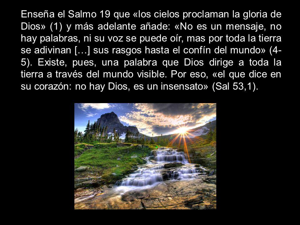 Enseña el Salmo 19 que «los cielos proclaman la gloria de Dios» (1) y más adelante añade: «No es un mensaje, no hay palabras, ni su voz se puede oír, mas por toda la tierra se adivinan […] sus rasgos hasta el confín del mundo» (4-5).